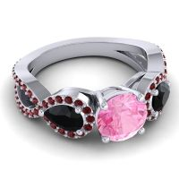 Three Stone Pave Varsa Pink Tourmaline Ring with Black Onyx and Garnet in 14k White Gold
