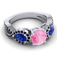 Three Stone Pave Varsa Pink Tourmaline Ring with Blue Sapphire and Black Onyx in 14k White Gold