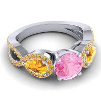 Three Stone Pave Varsa Pink Tourmaline Ring with Citrine in Platinum
