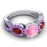 Three Stone Pave Varsa Pink Tourmaline Ring with Garnet and Amethyst in 14k White Gold