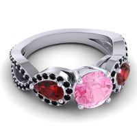 Three Stone Pave Varsa Pink Tourmaline Ring with Garnet and Black Onyx in 18k White Gold