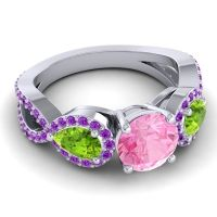 Three Stone Pave Varsa Pink Tourmaline Ring with Peridot and Amethyst in Platinum