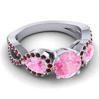 Three Stone Pave Varsa Pink Tourmaline Ring with Garnet in Platinum
