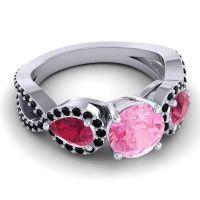 Three Stone Pave Varsa Pink Tourmaline Ring with Ruby and Black Onyx in Palladium