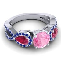 Three Stone Pave Varsa Pink Tourmaline Ring with Ruby and Blue Sapphire in 18k White Gold