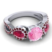 Pink Tourmaline Three Stone Pave Varsa Ring with Ruby and Garnet in 18k White Gold