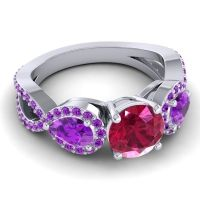 Three Stone Pave Varsa Ruby Ring with Amethyst in Platinum