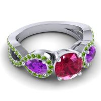 Three Stone Pave Varsa Ruby Ring with Amethyst and Peridot in Palladium