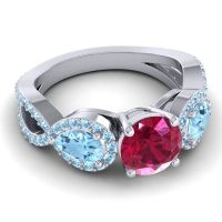 Three Stone Pave Varsa Ruby Ring with Aquamarine in 14k White Gold
