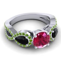 Three Stone Pave Varsa Ruby Ring with Black Onyx and Peridot in Platinum