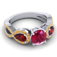 Three Stone Pave Varsa Ruby Ring with Garnet and Citrine in 18k White Gold