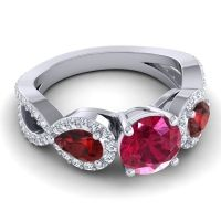 Three Stone Pave Varsa Ruby Ring with Garnet and Diamond in 18k White Gold