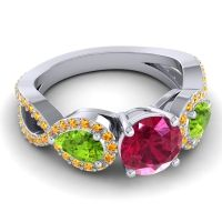 Three Stone Pave Varsa Ruby Ring with Peridot and Citrine in 14k White Gold