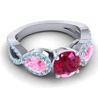 Three Stone Pave Varsa Ruby Ring with Pink Tourmaline and Aquamarine in Palladium
