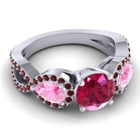 Three Stone Pave Varsa Ruby Ring with Pink Tourmaline and Garnet in Platinum