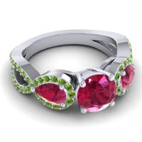 Three Stone Pave Varsa Ruby Ring with Peridot in 14k White Gold