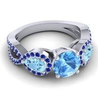 Three Stone Pave Varsa Swiss Blue Topaz Ring with Aquamarine and Blue Sapphire in 14k White Gold
