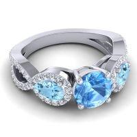 Three Stone Pave Varsa Swiss Blue Topaz Ring with Aquamarine and Diamond in 14k White Gold