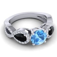 Three Stone Pave Varsa Swiss Blue Topaz Ring with Black Onyx and Diamond in Palladium