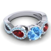 Three Stone Pave Varsa Swiss Blue Topaz Ring with Garnet and Aquamarine in Palladium