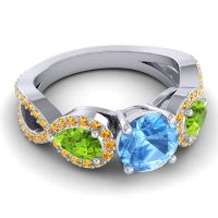 Three Stone Pave Varsa Swiss Blue Topaz Ring with Peridot and Citrine in 14k White Gold
