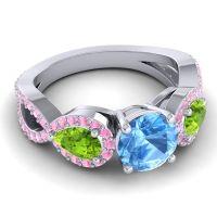 Three Stone Pave Varsa Swiss Blue Topaz Ring with Peridot and Pink Tourmaline in Platinum