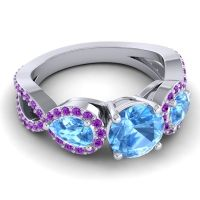 Three Stone Pave Varsa Swiss Blue Topaz Ring with Amethyst in Palladium