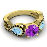 Three Stone Pave Varsa Amethyst Ring with Aquamarine and Black Onyx in 14k Yellow Gold