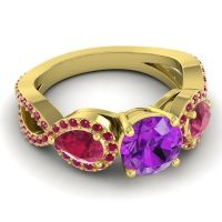 Three Stone Pave Varsa Amethyst Ring with Ruby in 14k Yellow Gold