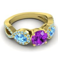 Three Stone Pave Varsa Amethyst Ring with Swiss Blue Topaz and Aquamarine in 14k Yellow Gold