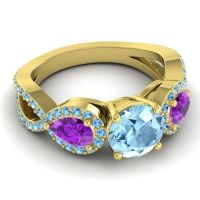 Three Stone Pave Varsa Aquamarine Ring with Amethyst and Swiss Blue Topaz in 18k Yellow Gold