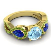 Three Stone Pave Varsa Aquamarine Ring with Blue Sapphire and Peridot in 14k Yellow Gold