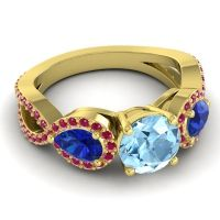 Three Stone Pave Varsa Aquamarine Ring with Blue Sapphire and Ruby in 14k Yellow Gold