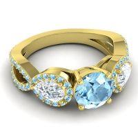 Three Stone Pave Varsa Aquamarine Ring with Diamond in 14k Yellow Gold