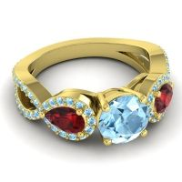 Three Stone Pave Varsa Aquamarine Ring with Garnet in 14k Yellow Gold