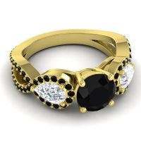 Three Stone Pave Varsa Black Onyx Ring with Diamond in 14k Yellow Gold