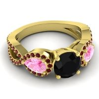 Three Stone Pave Varsa Black Onyx Ring with Pink Tourmaline and Garnet in 14k Yellow Gold