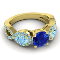 Three Stone Pave Varsa Blue Sapphire Ring with Aquamarine and Swiss Blue Topaz in 18k Yellow Gold