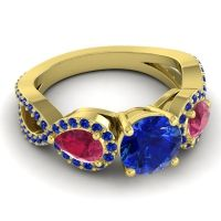 Three Stone Pave Varsa Blue Sapphire Ring with Ruby in 18k Yellow Gold
