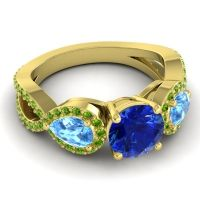 Three Stone Pave Varsa Blue Sapphire Ring with Swiss Blue Topaz and Peridot in 14k Yellow Gold
