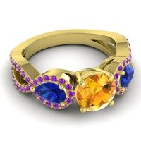 Three Stone Pave Varsa Citrine Ring with Blue Sapphire and Amethyst in 18k Yellow Gold