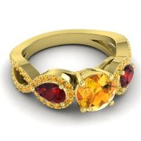 Three Stone Pave Varsa Citrine Ring with Garnet in 18k Yellow Gold