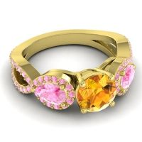 Three Stone Pave Varsa Citrine Ring with Pink Tourmaline in 18k Yellow Gold