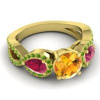 Three Stone Pave Varsa Citrine Ring with Ruby and Peridot in 18k Yellow Gold