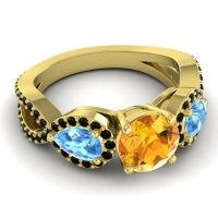 Three Stone Pave Varsa Citrine Ring with Swiss Blue Topaz and Black Onyx in 18k Yellow Gold
