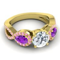 Three Stone Pave Varsa Diamond Ring with Amethyst and Pink Tourmaline in 18k Yellow Gold