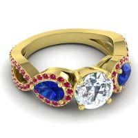 Three Stone Pave Varsa Diamond Ring with Blue Sapphire and Ruby in 18k Yellow Gold