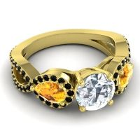 Diamond Three Stone Pave Varsa Ring with Citrine and Black Onyx in 14k Yellow Gold