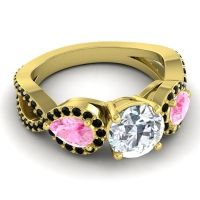 Three Stone Pave Varsa Diamond Ring with Pink Tourmaline and Black Onyx in 14k Yellow Gold