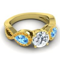 Three Stone Pave Varsa Diamond Ring with Swiss Blue Topaz and Citrine in 18k Yellow Gold